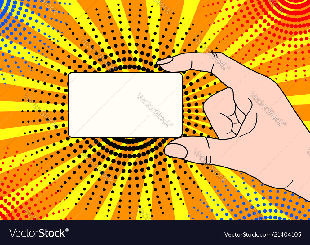 Male hand with holding a card in pop art comic