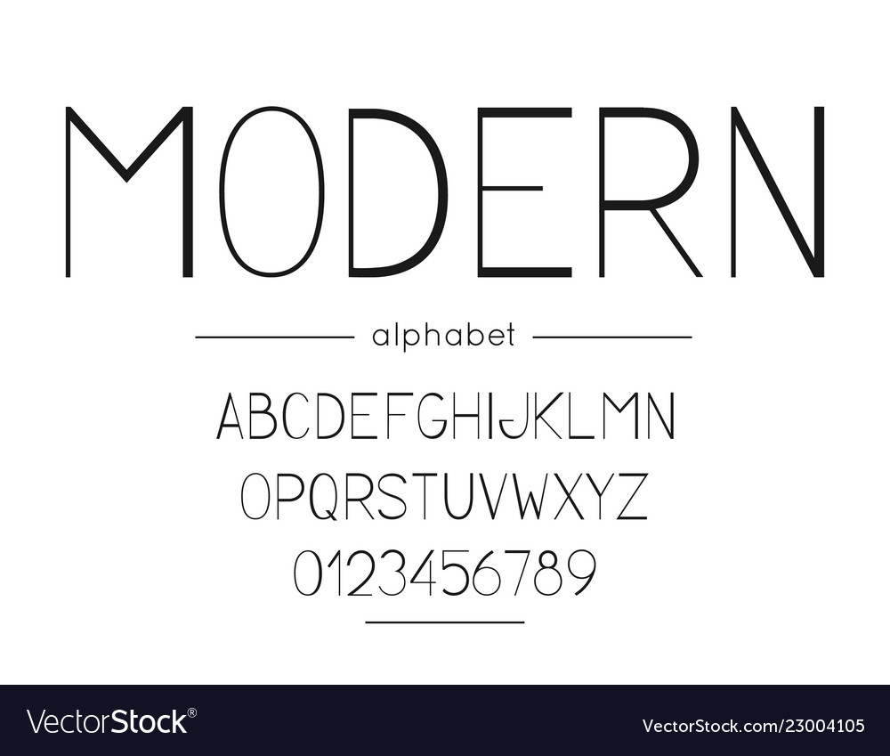 Modern font and alphabet type with letters
