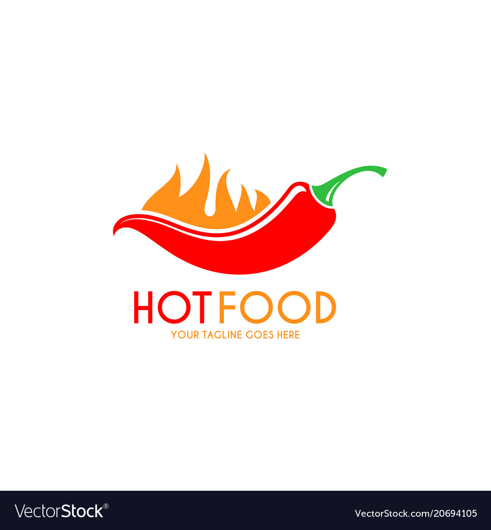 Red chili pepper with fire logo