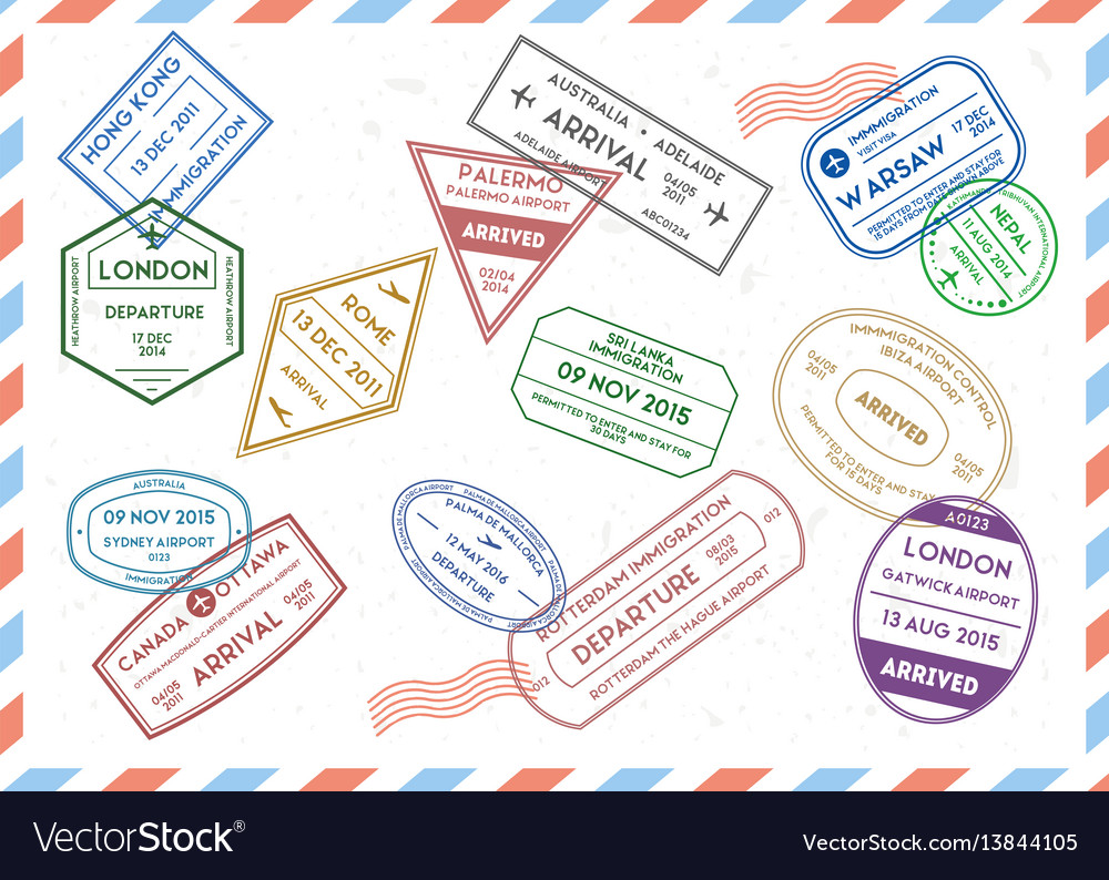 Travel stamps set on mail envelopes background