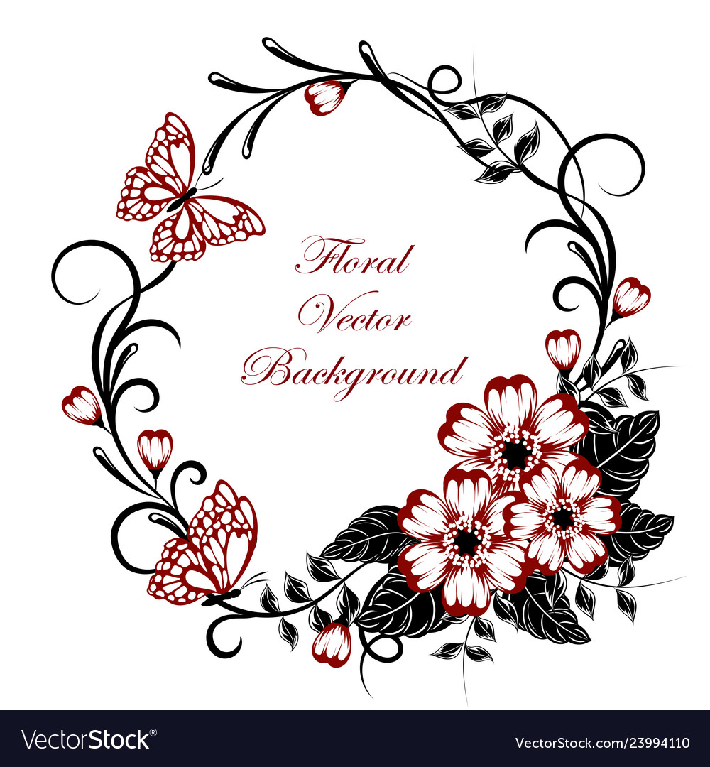 Beautiful floral background with butterflies in