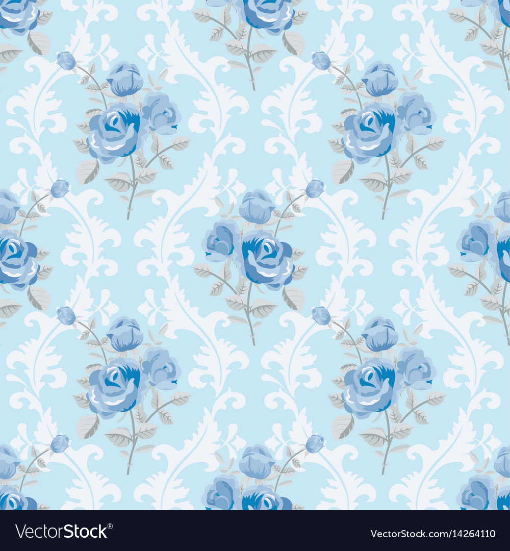 Blue Roses Floral Wallpaper Royalty Free Vector Image