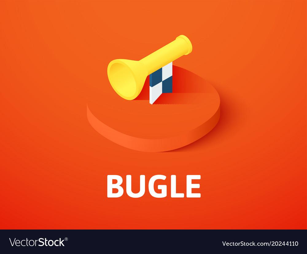 Bugle isometric icon isolated on color background