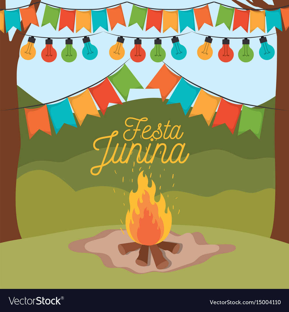 Colorful poster festa junina with background