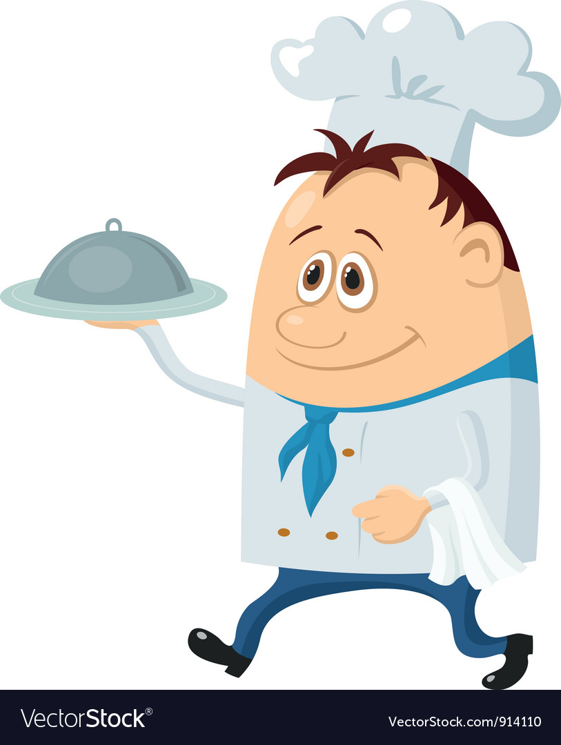 Cook with tray vector image