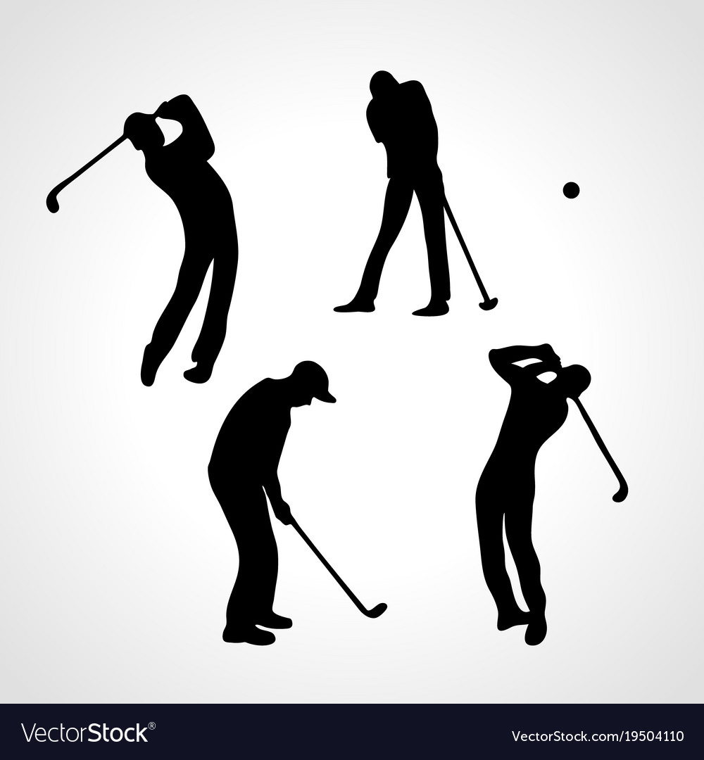 Golfers silhouettes collection 4 black golf