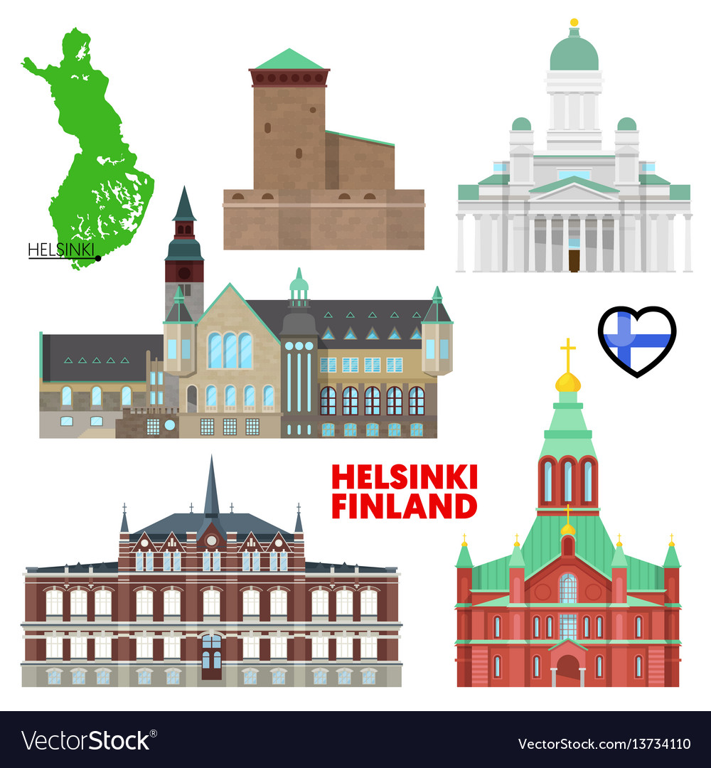 Helsinki travel set with architecture