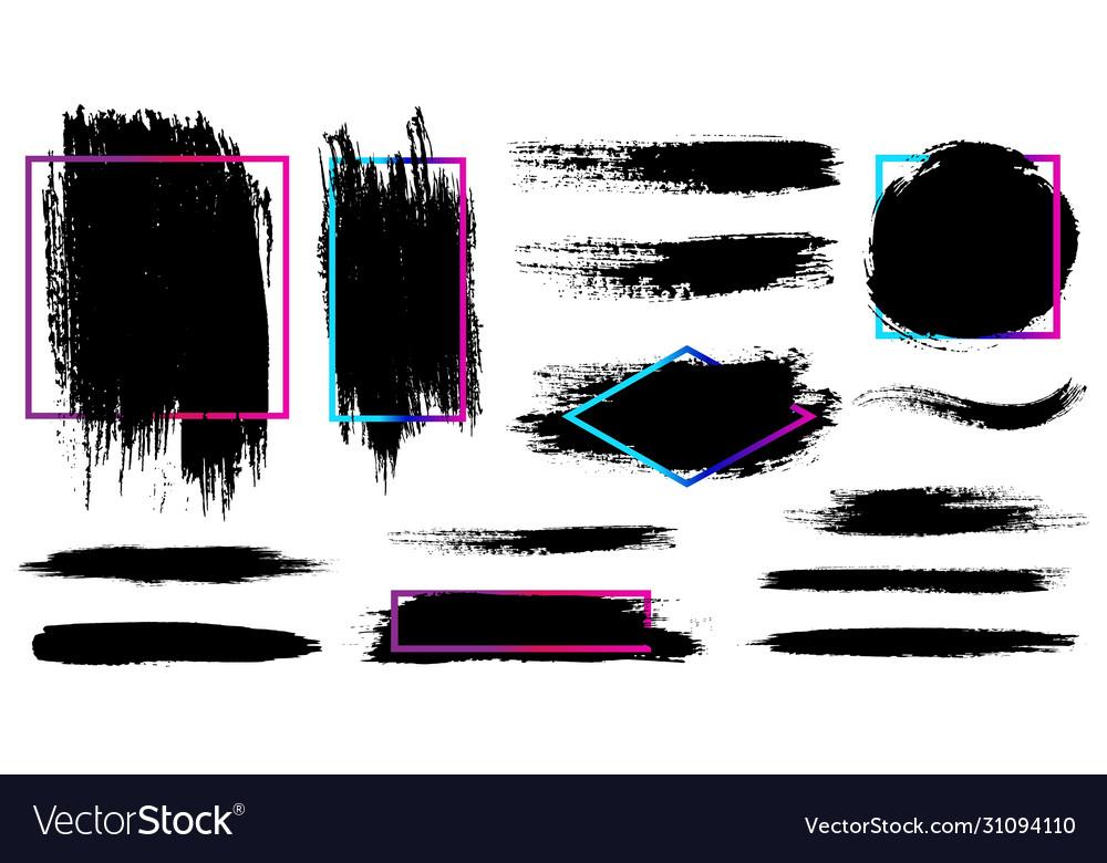 Ink splash and brush stroke isolated shape