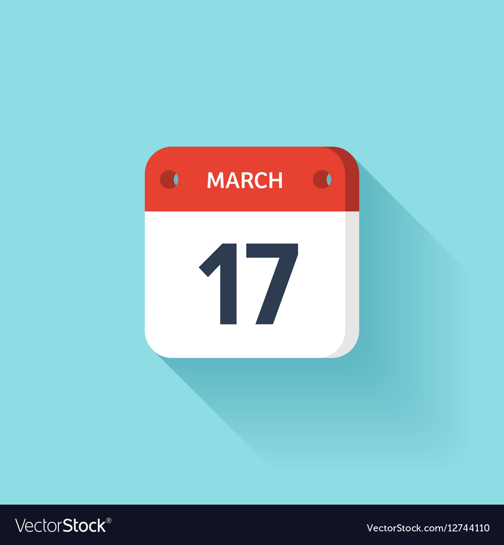 March 17 Isometric Calendar Icon With Shadow