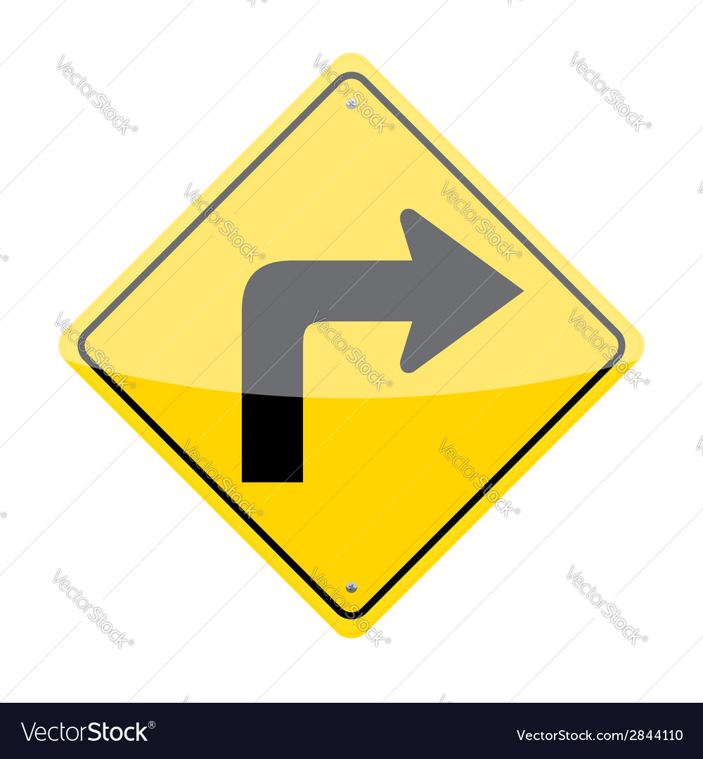 Right Turn Sign vector image
