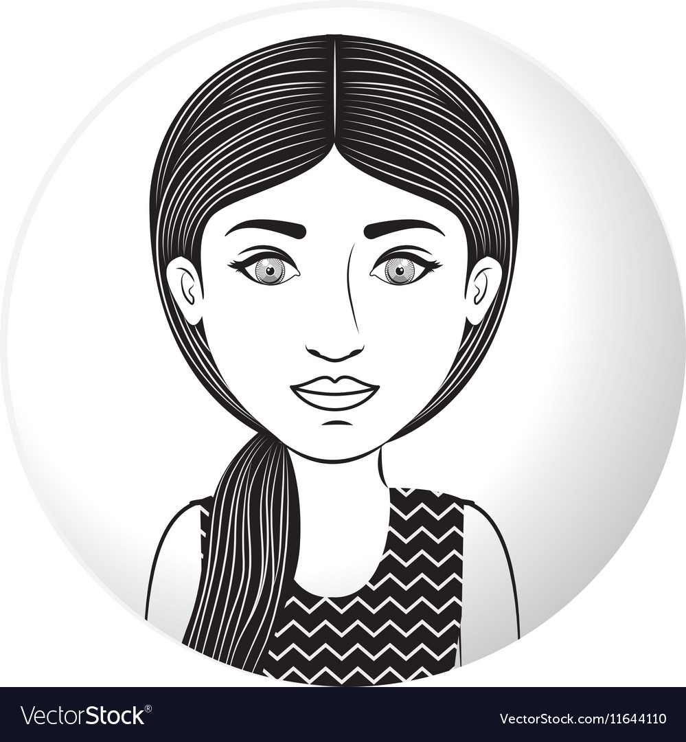 Sphere half body woman with ponytail hair
