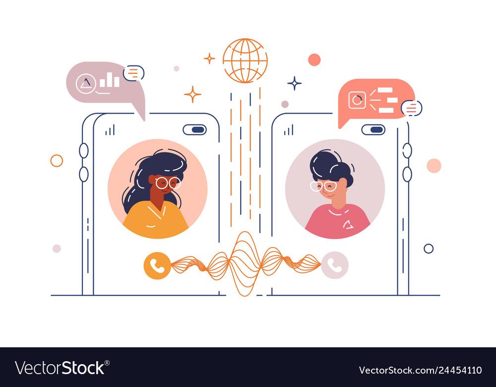 Women chatting via mobile phone app