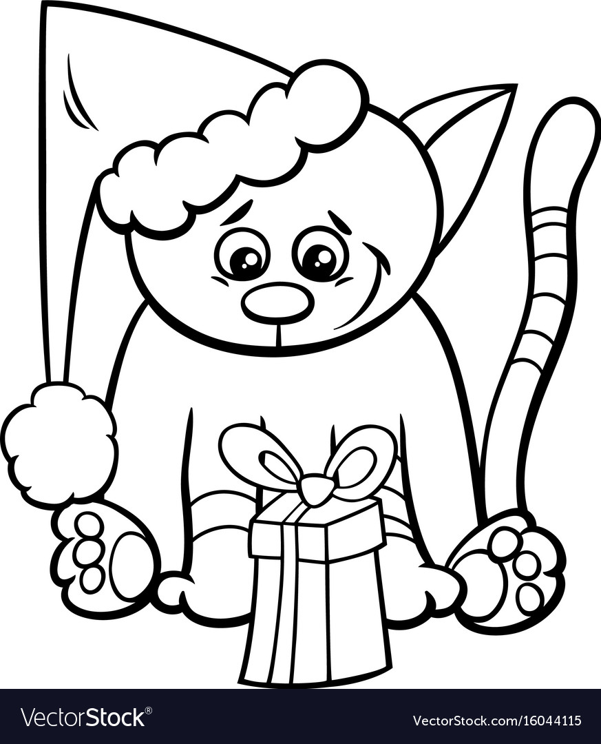 Cat with xmas gift coloring book
