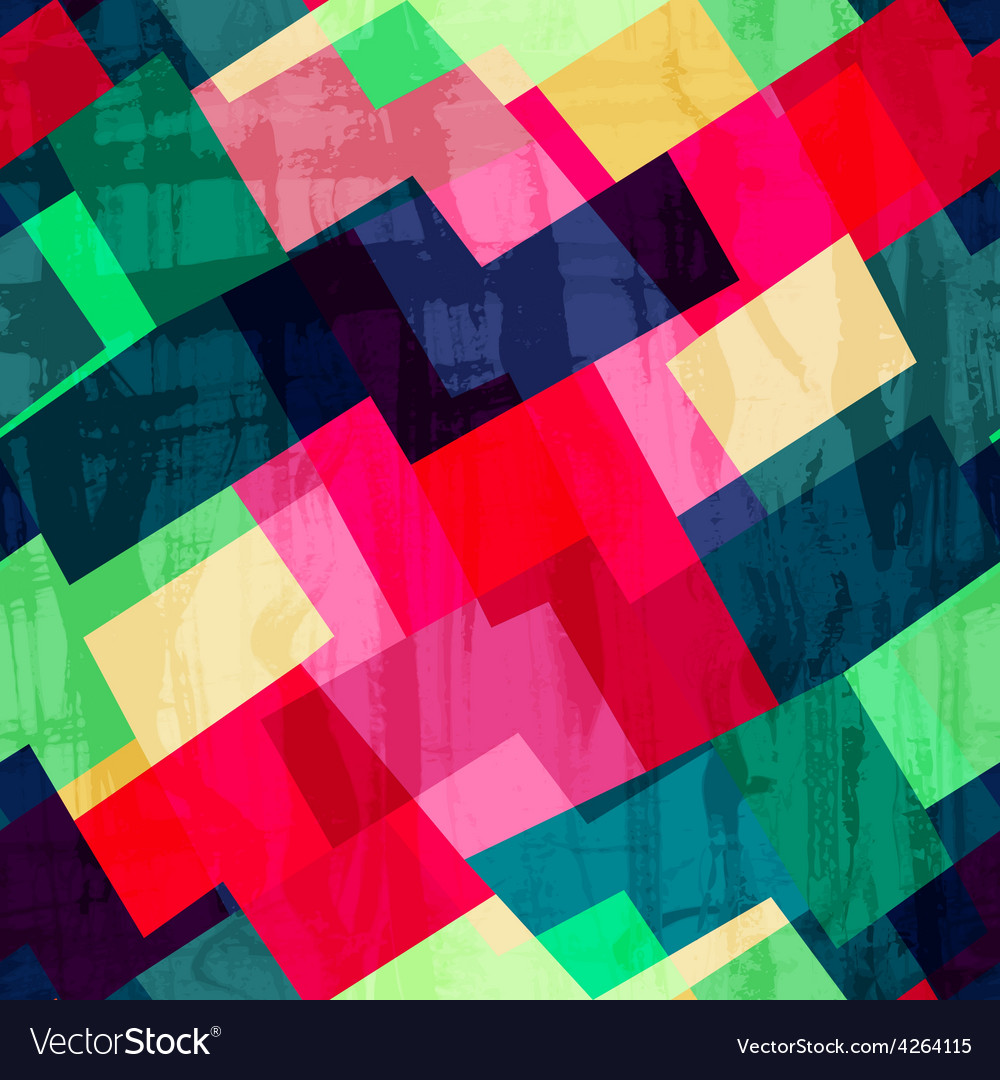 Grunge mosaic seamless pattern with blob effect