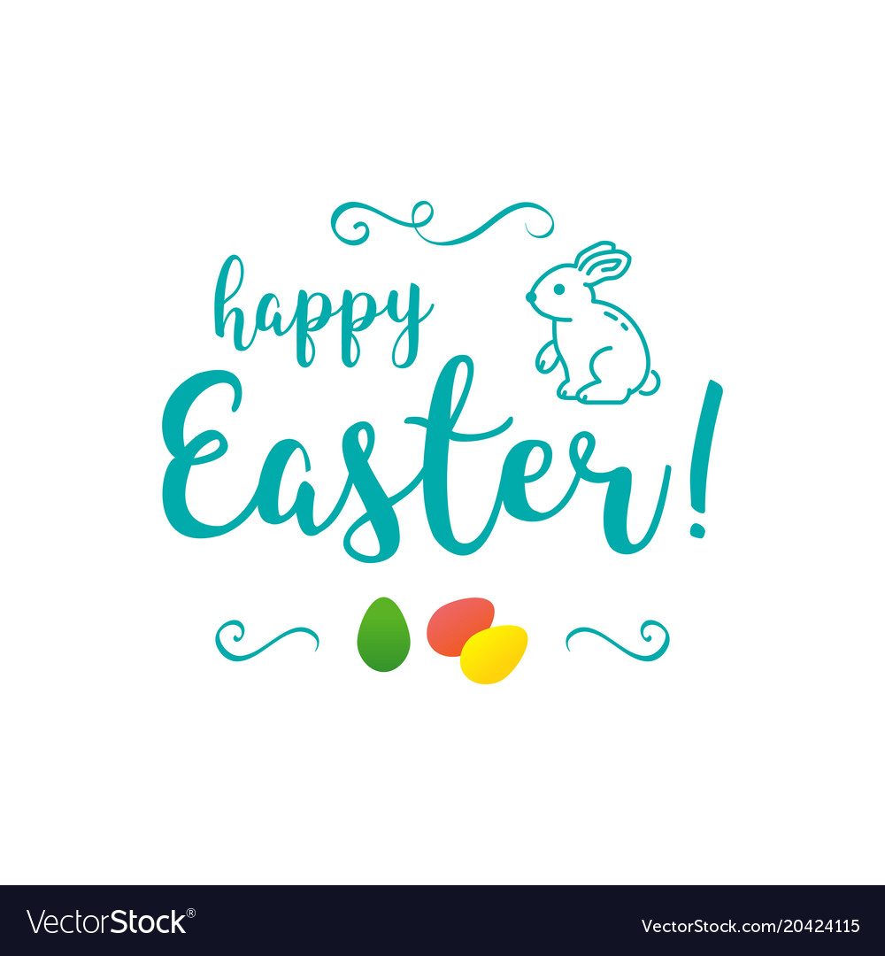 Happy easter inscription trendy easter