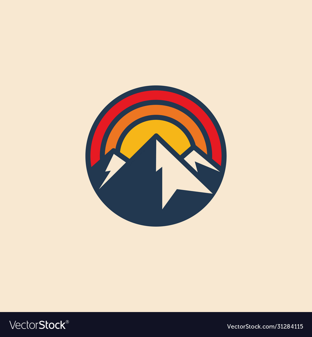 Minimalistic circular mountain logo icon design
