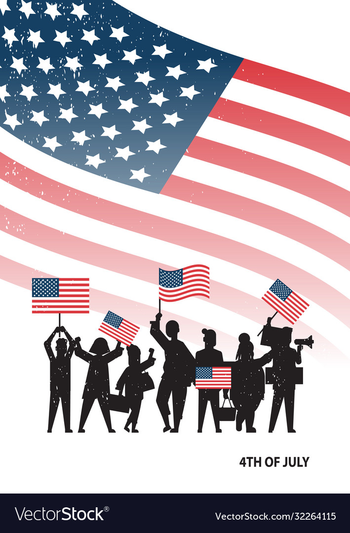 People silhouettes holding united states flags