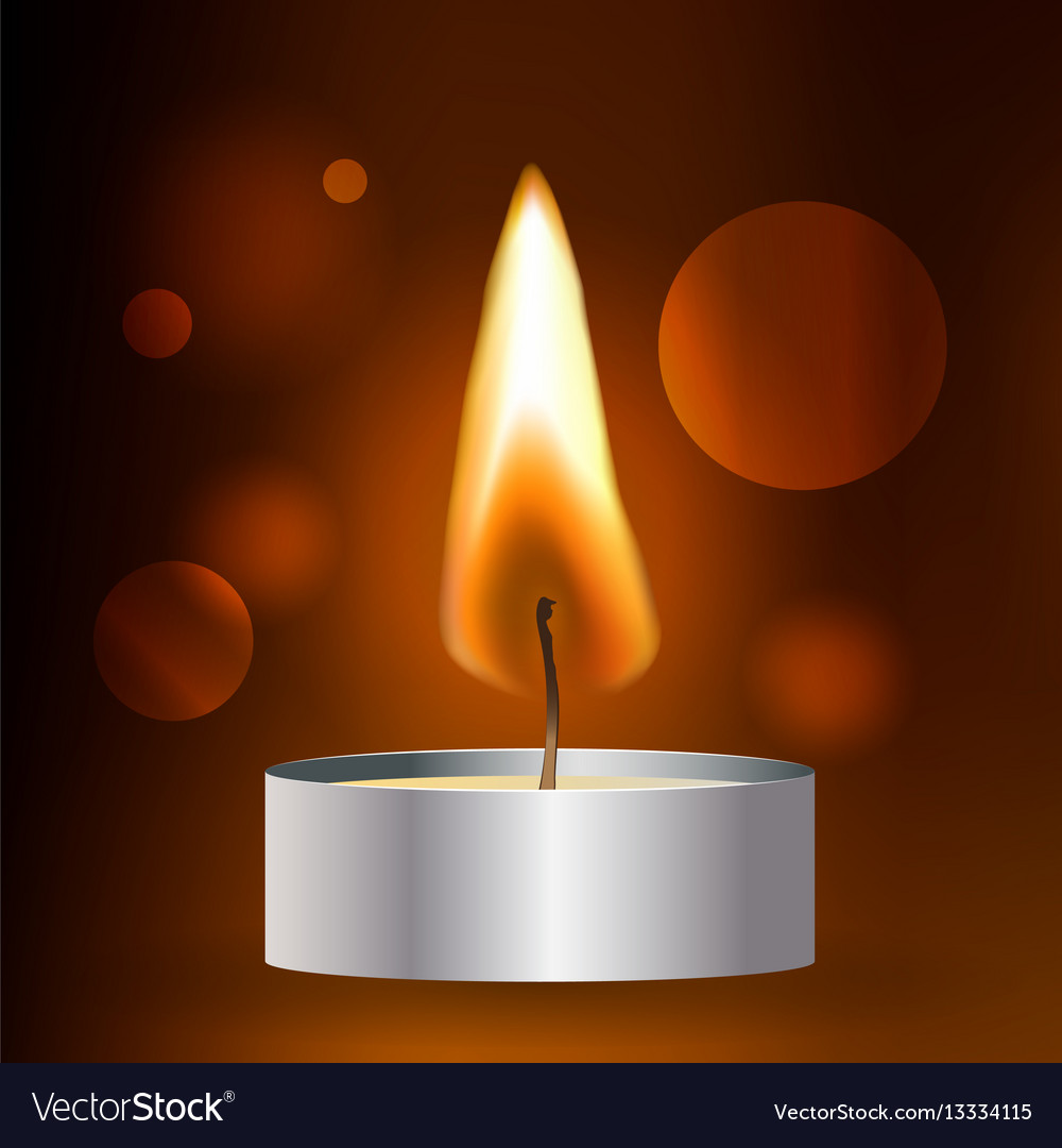 Realistic flame tea candle on dark