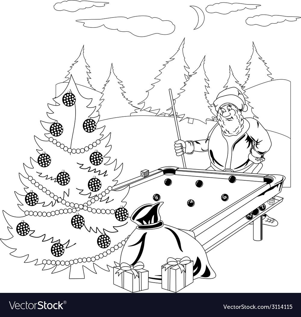 Santa Claus playing billiards