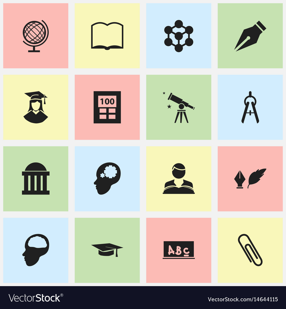 Set of 16 editable school icons includes symbols