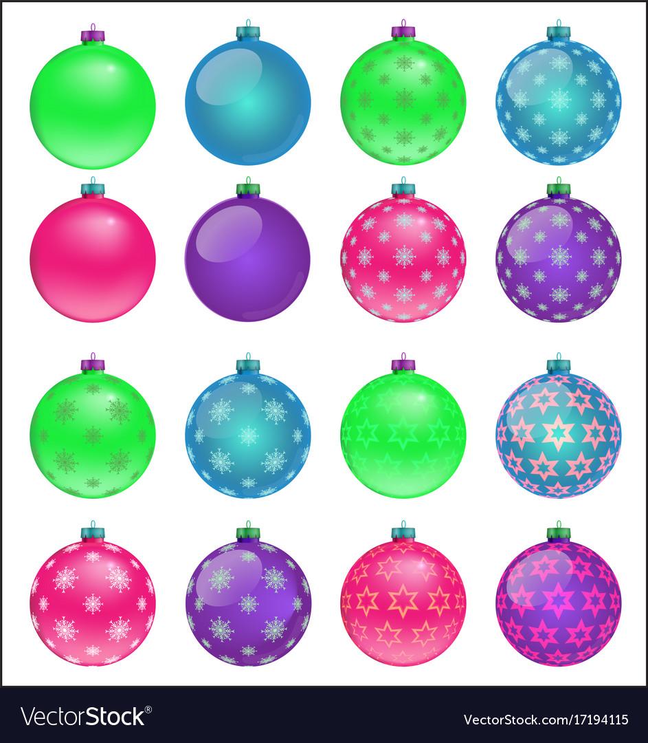 Colorful Christmas Balls.Set Of Colorful Christmas Balls Vector Image On Vectorstock