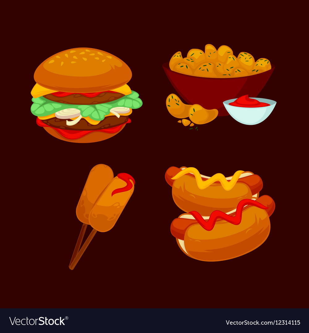 Set of fast food meals Collection cartoon snack