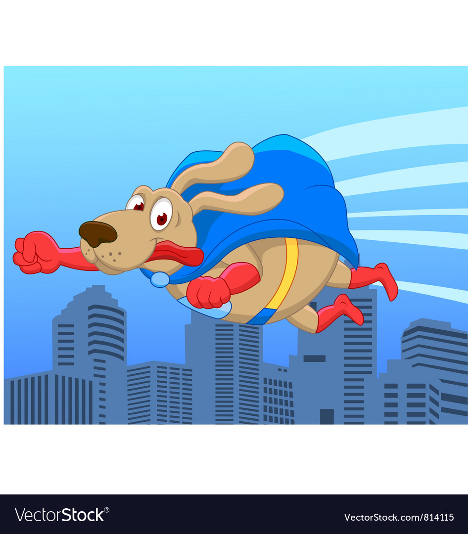 Super dog flying over city vector image