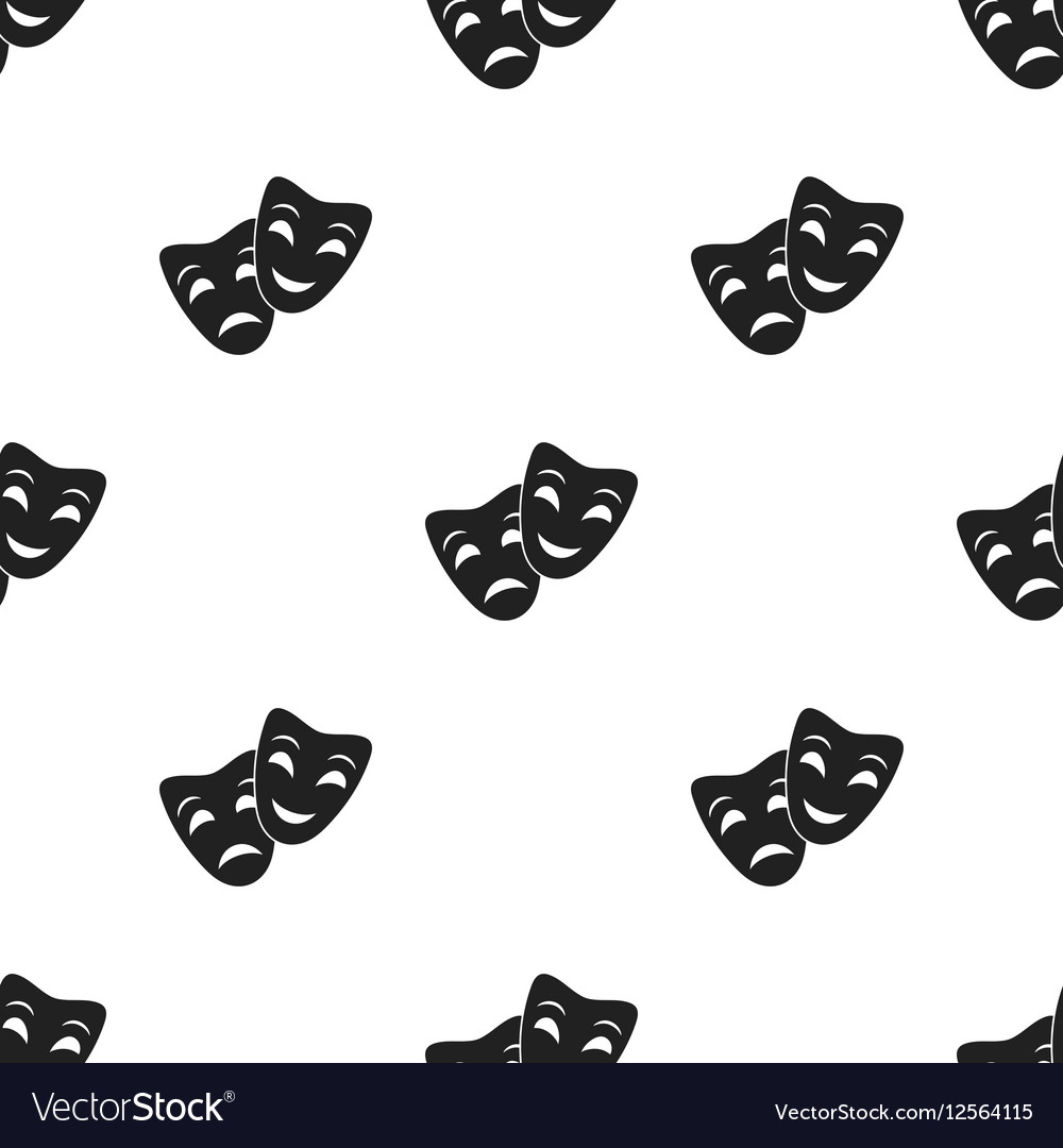 Theater masks icon in black style isolated on