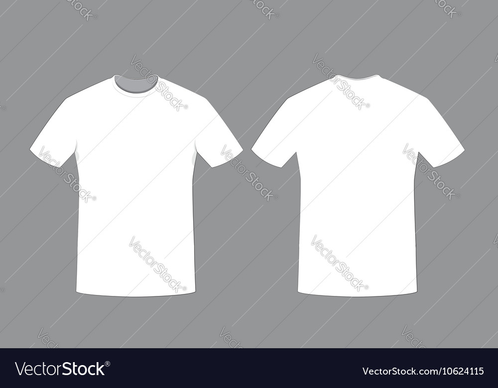 white man t shirt template front and back sides vector image