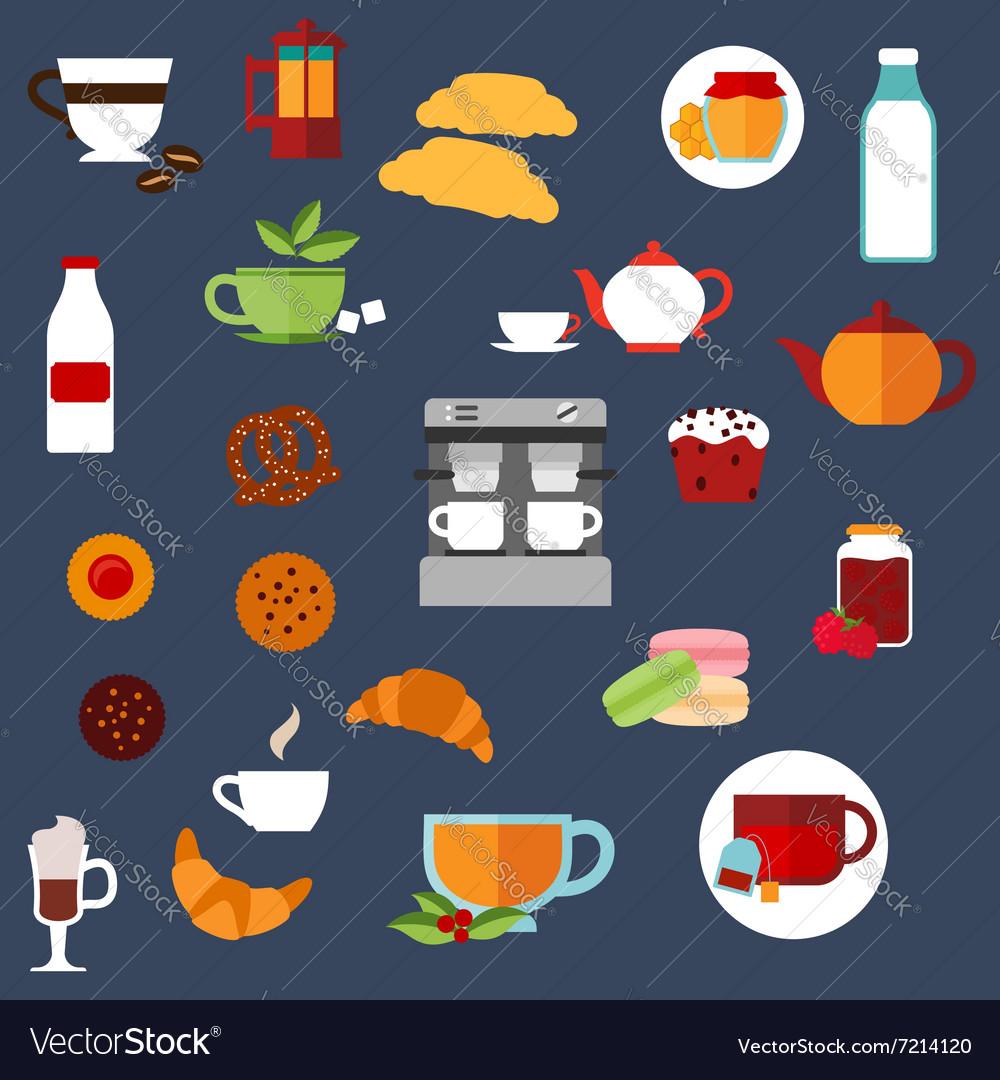Breakfast food and drinks menu flat icons