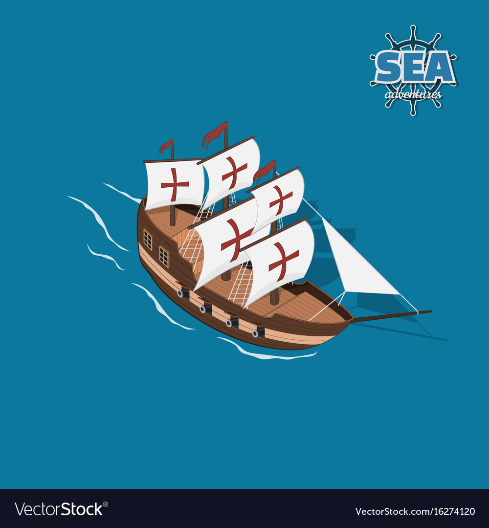 Brown sailer on a blue background