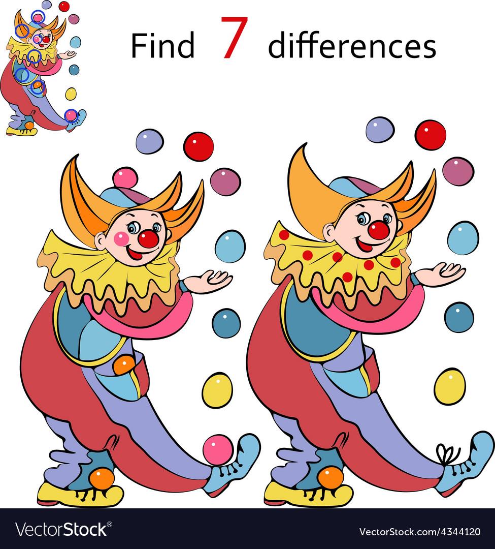 Картинки клоунов для детей найди отличия, юрию