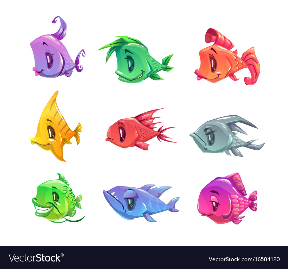 Fanny cartoon colorful fishes set