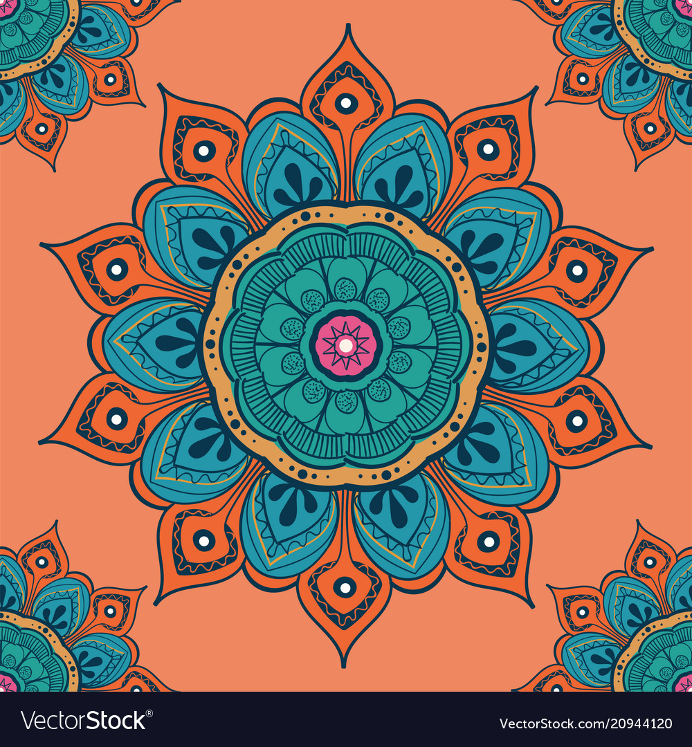Flower mandala colorful background for cards
