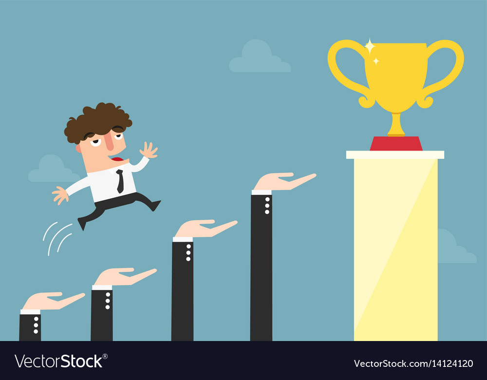 Hands to help businessman to go to success career vector image