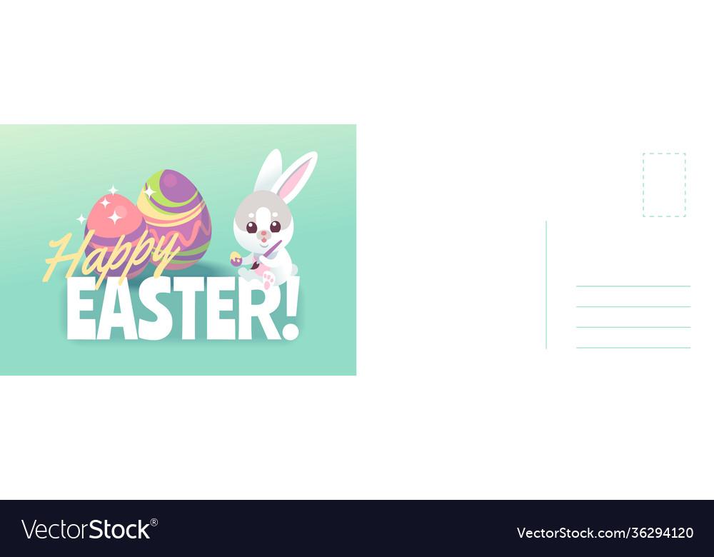Happy easter card cartoon cute bunny painting