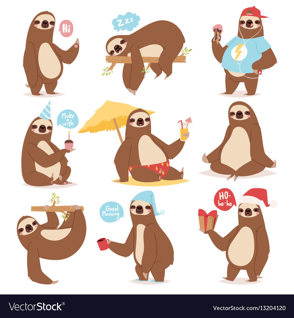Laziness sloth animal character different pose