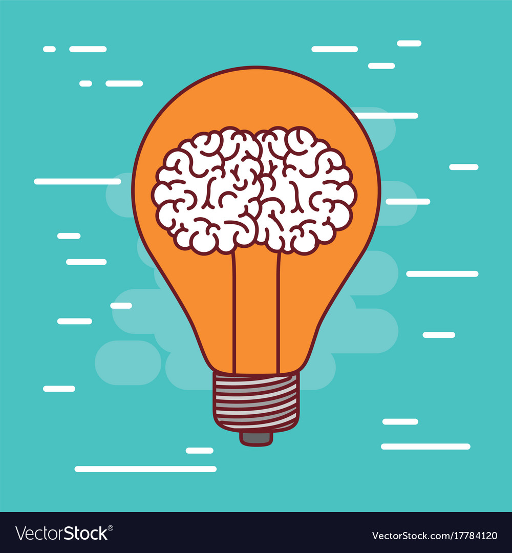 Light bulb silhouette with brain inside and