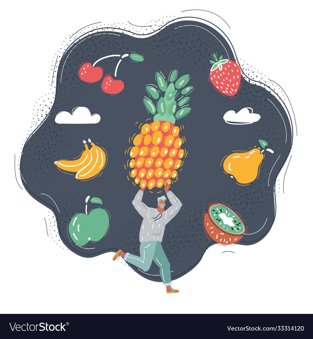 Man get big fruit and run