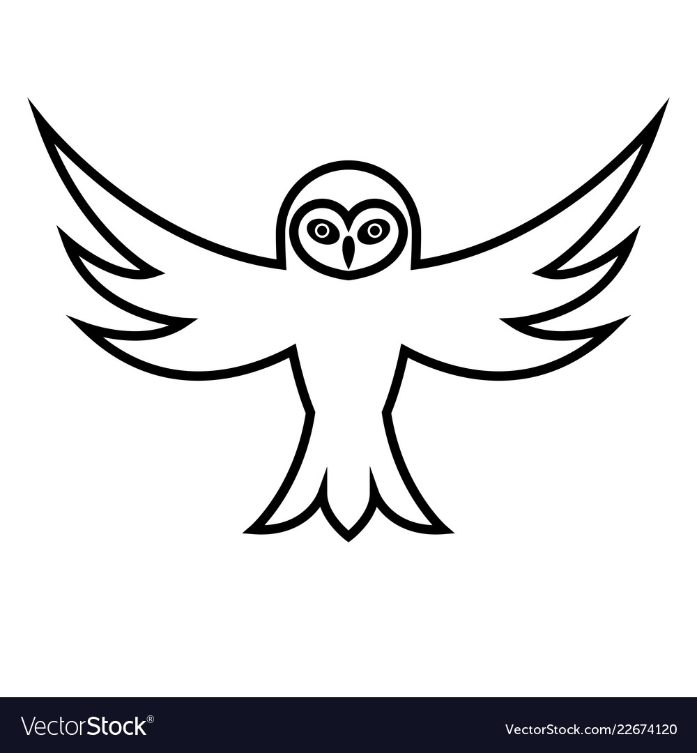 Owl With Open Wings Royalty Free Vector Image Vectorstock