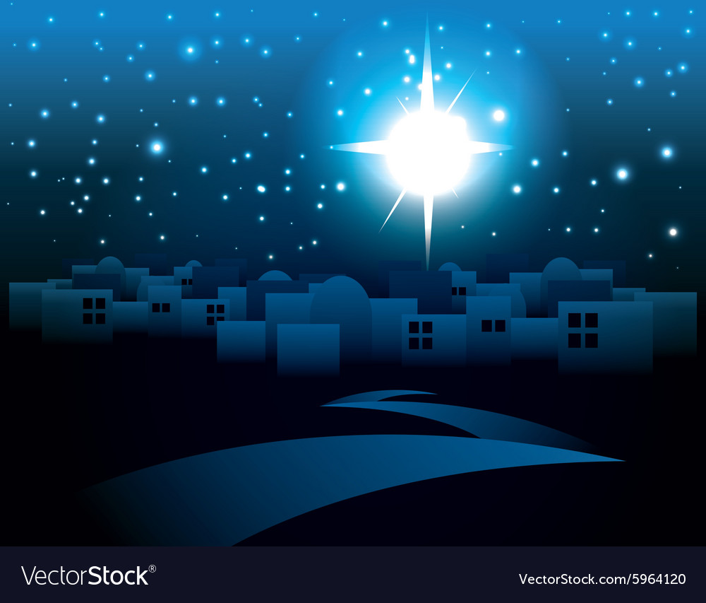 Starry Night Bethlehem Religious Christmas Theme vector image