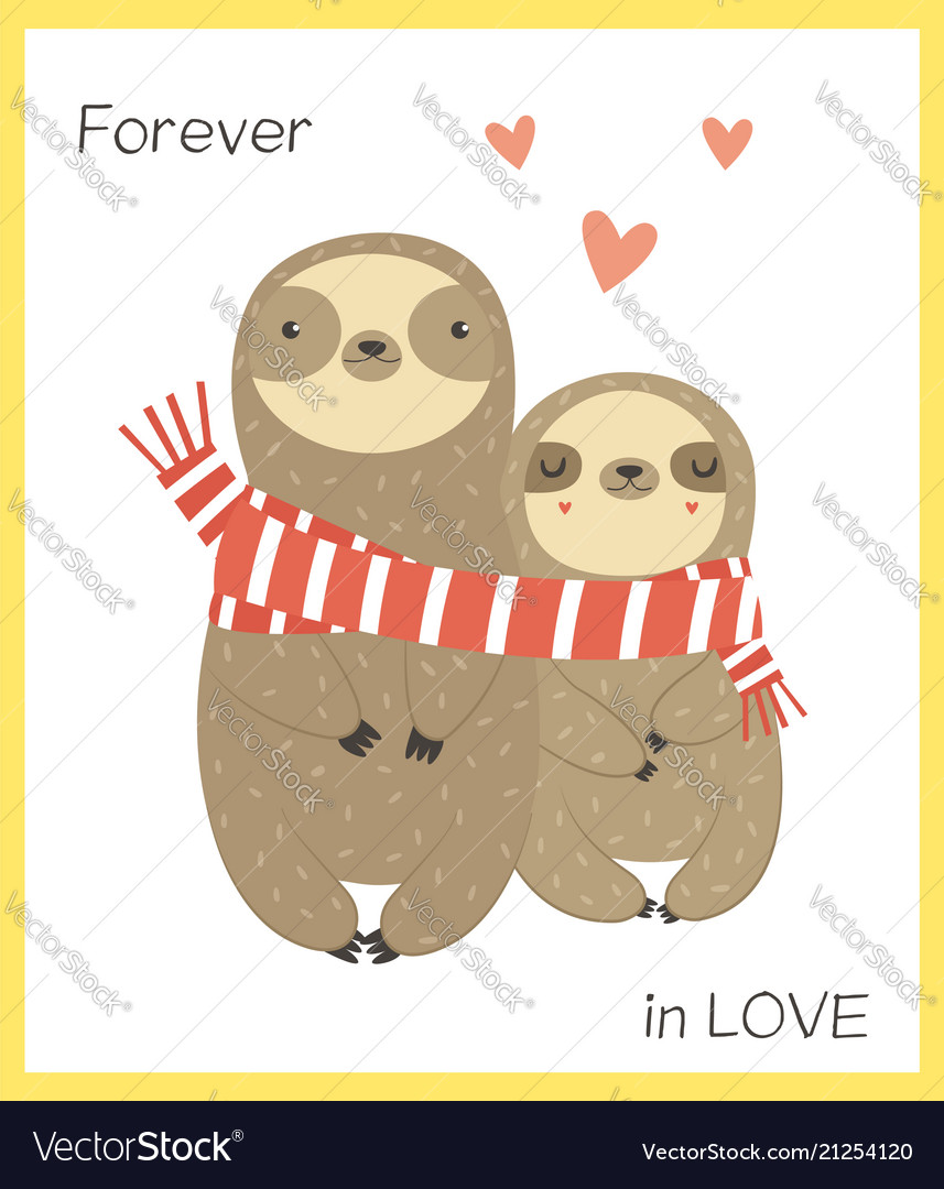 Two funny sloth in love wrapping in scarf