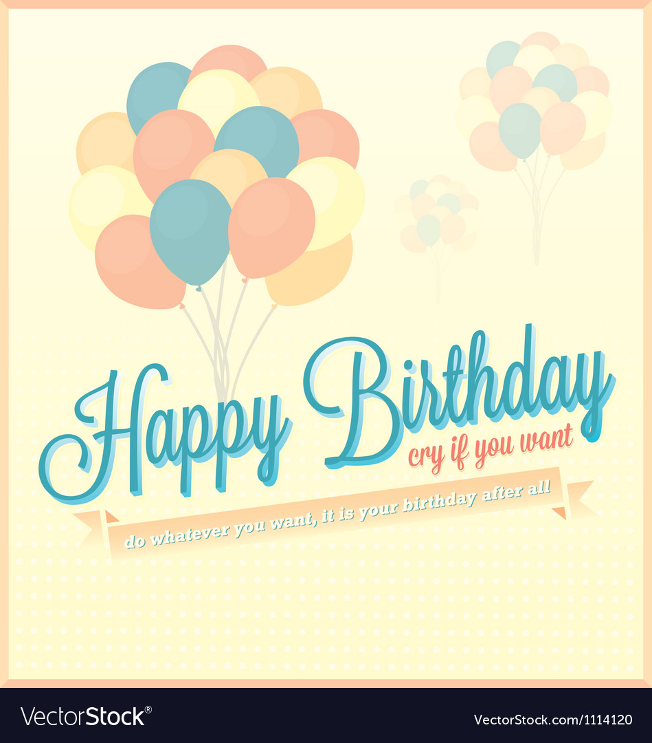 Vintage Happy Birthday Card With Balloons