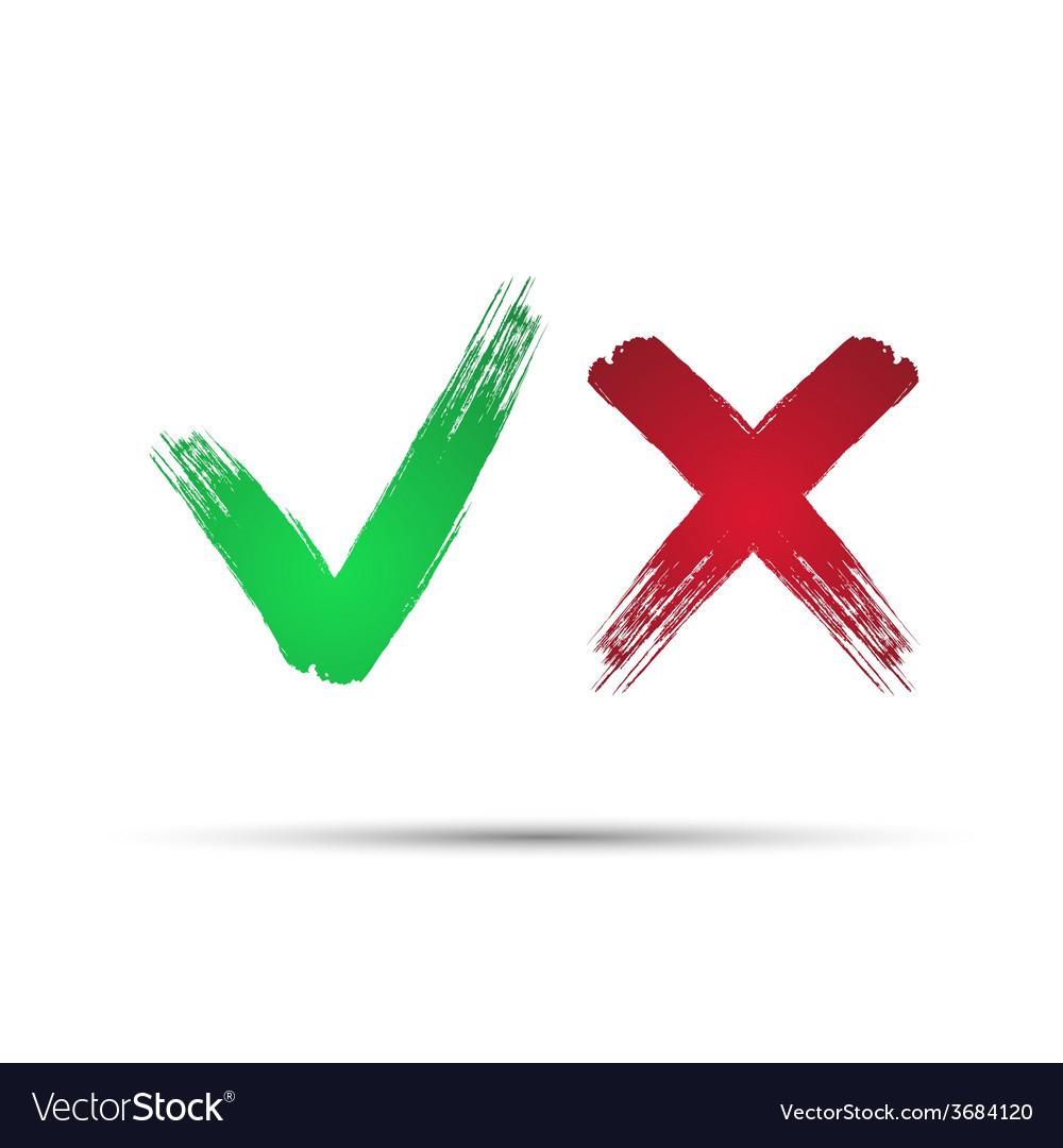 Yes and No check marks4 vector image