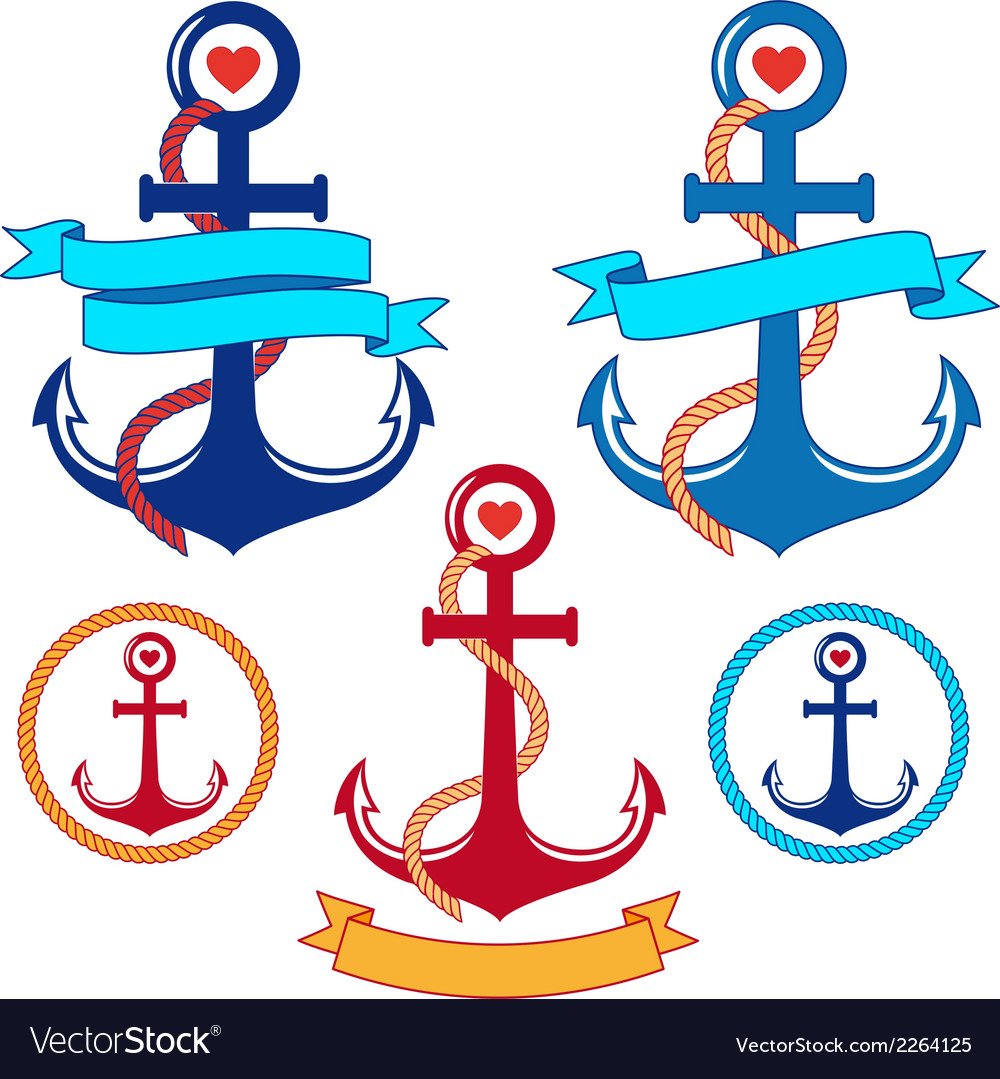Anchors with ribbons and frames set