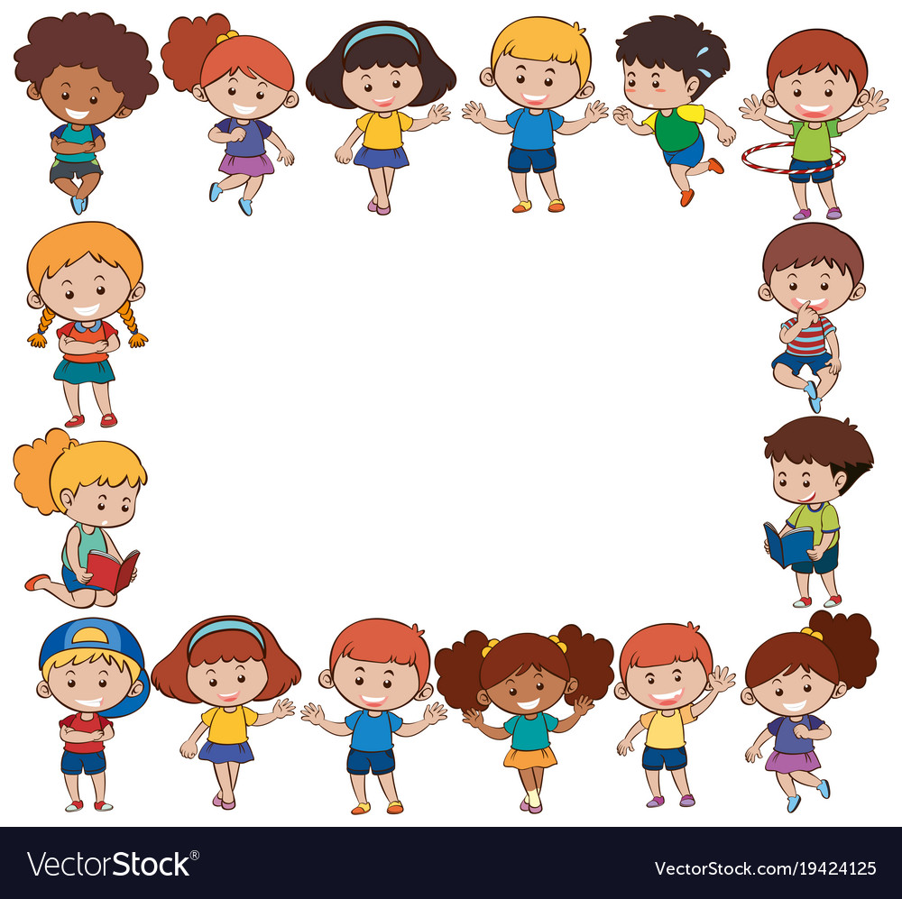Border template with happy children