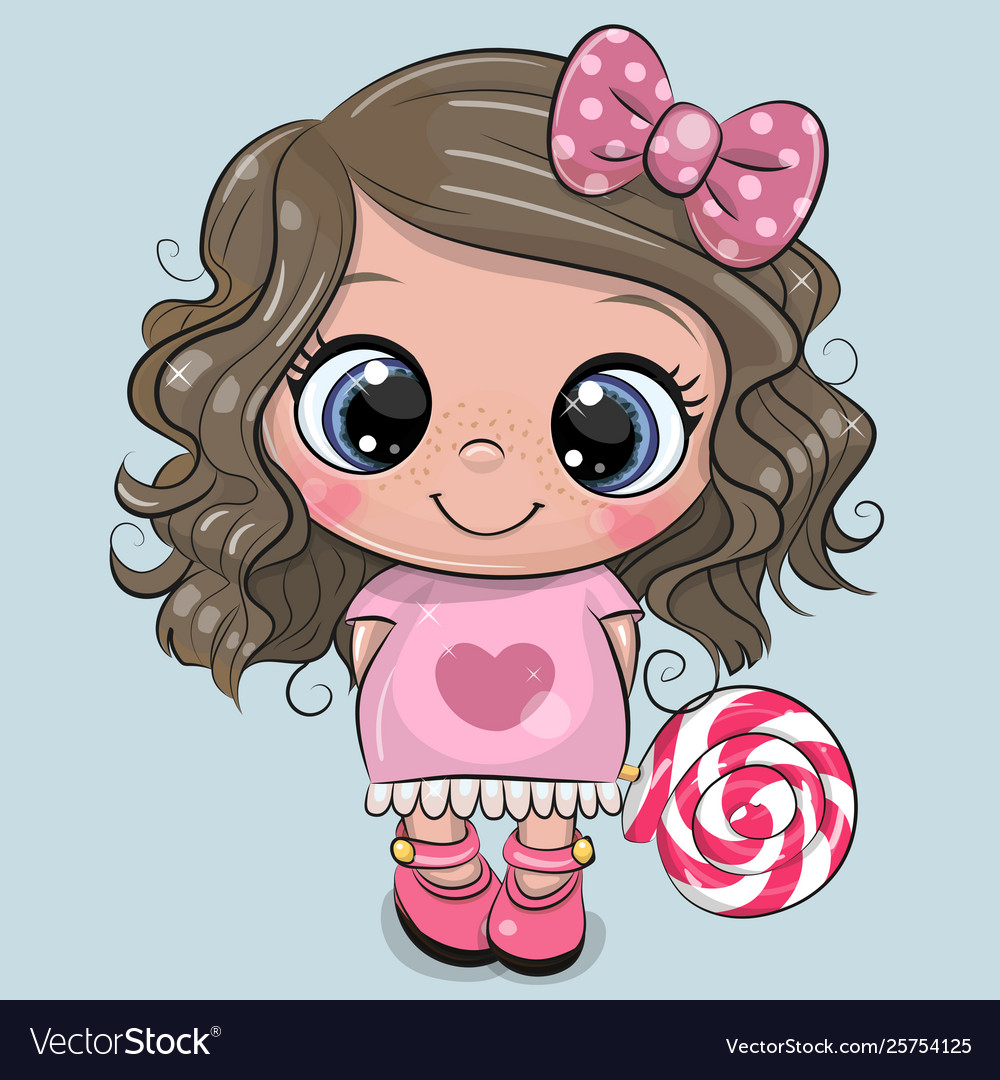 Cute Girl In A Dress And With Lollipop Royalty Free Vector-9516