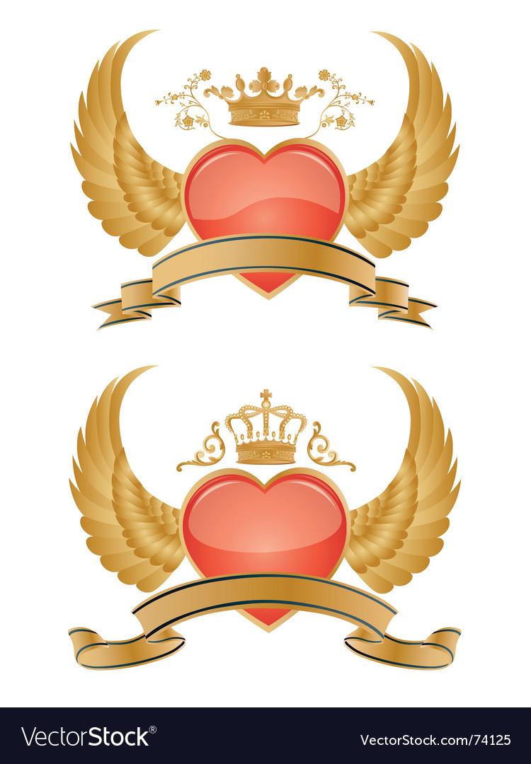 Heraldry hearts vector image