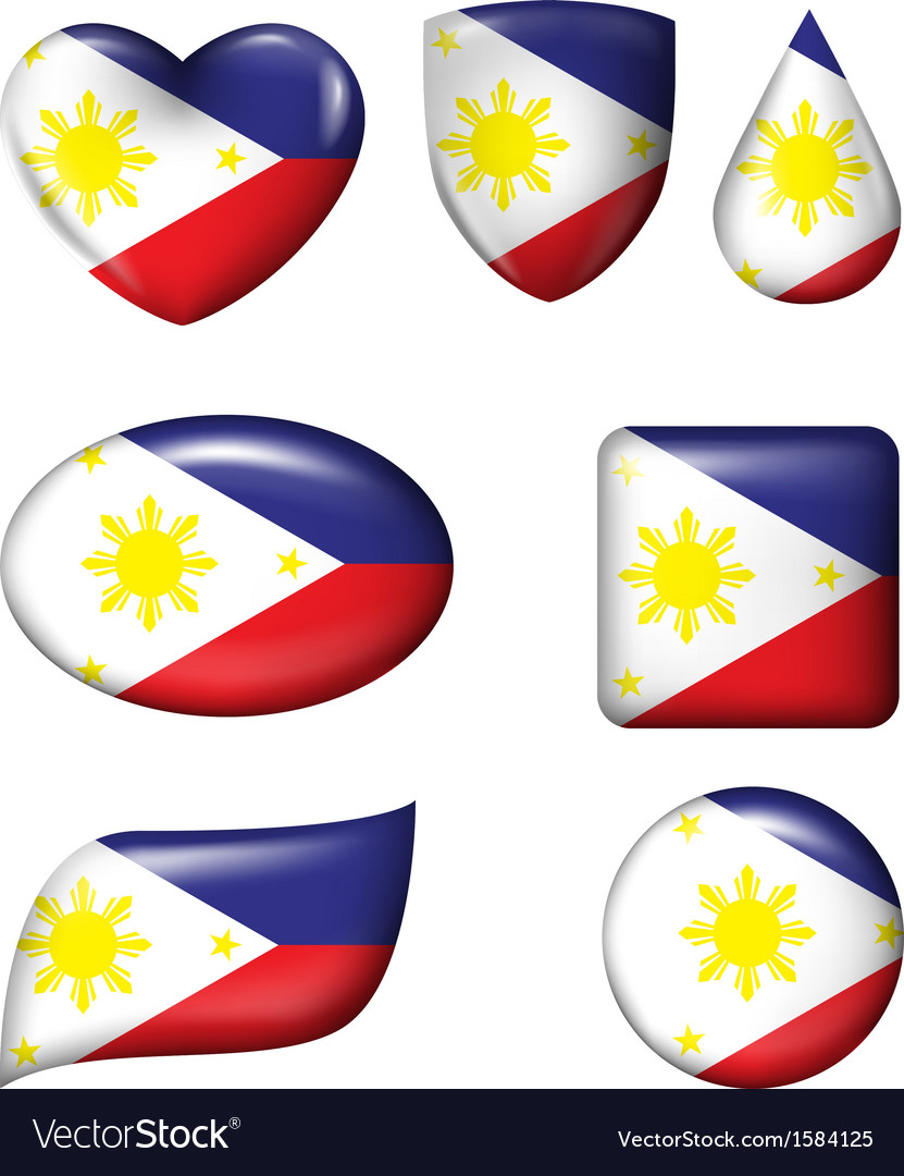Philippines flag in various shape glossy button