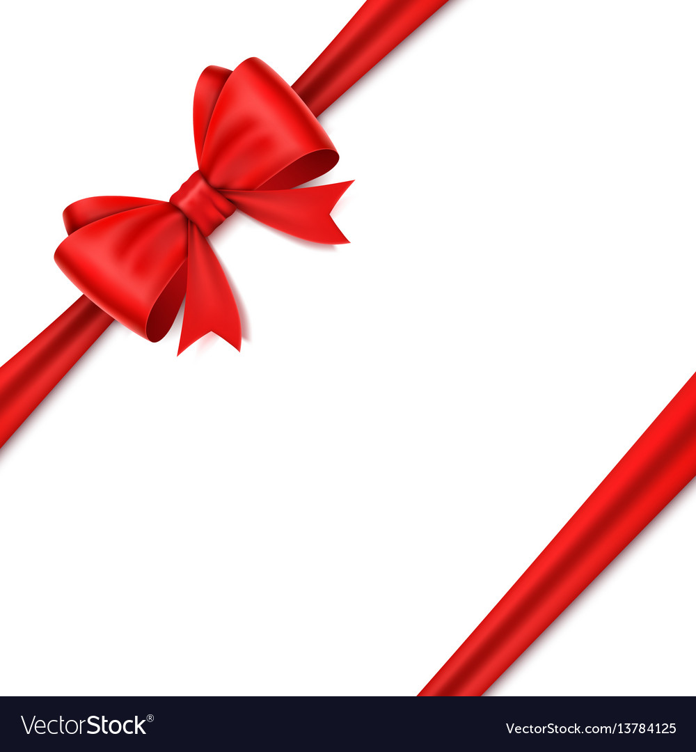 Realistic red bow on white background